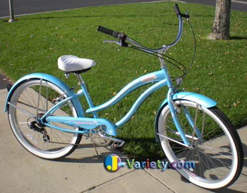 "7-Speed 26"" Women's Blue Beach Cruiser Bicycle"
