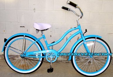 blue beach cruiser bicycle