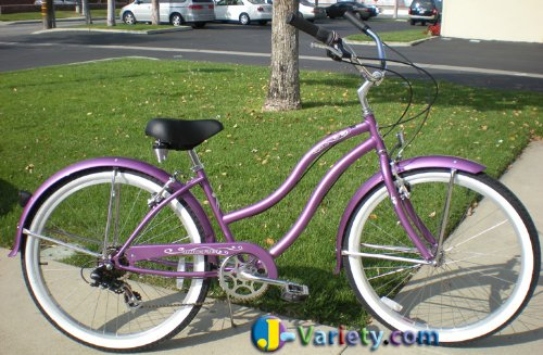 Cute Purple Beach Cruiser Bicycle