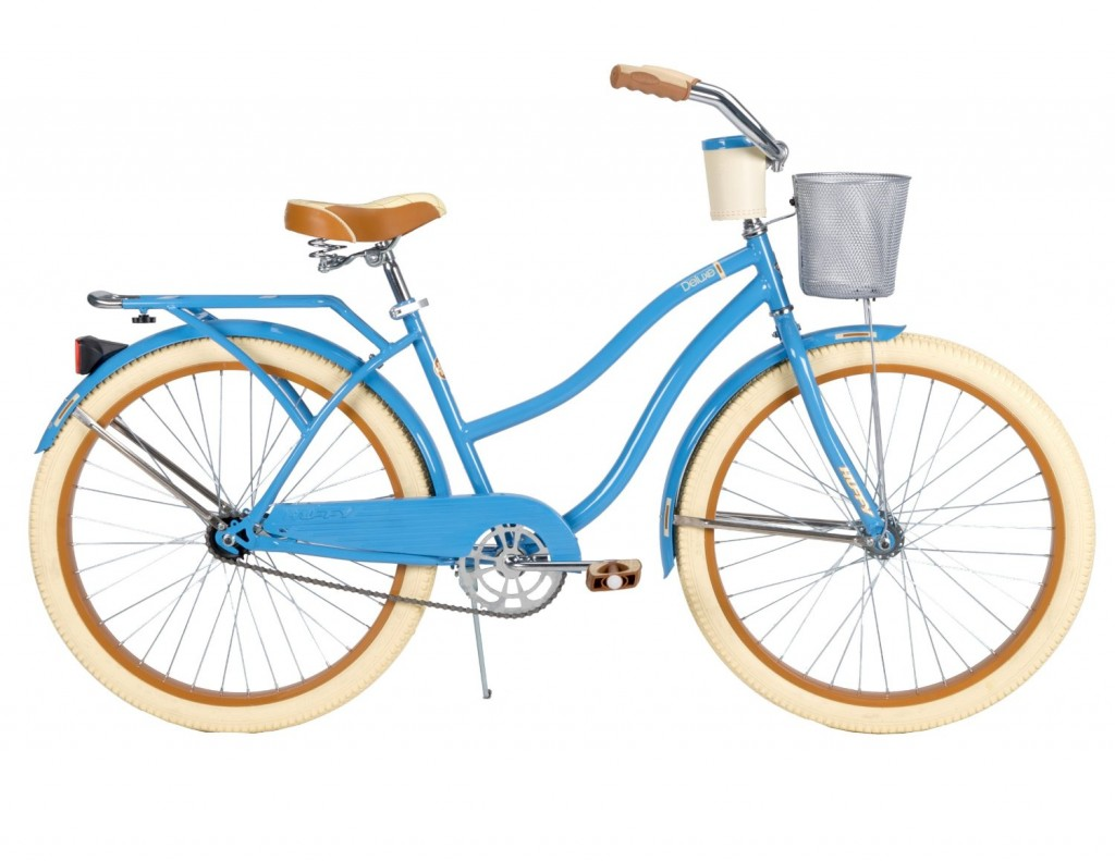 gorgeous blue cruiser bike with basket