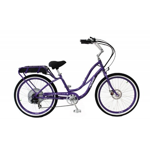 purple electric cruiser bike