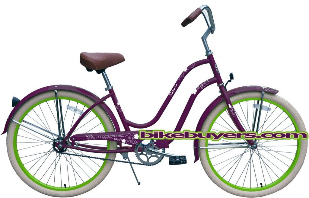 purple green beach cruiser