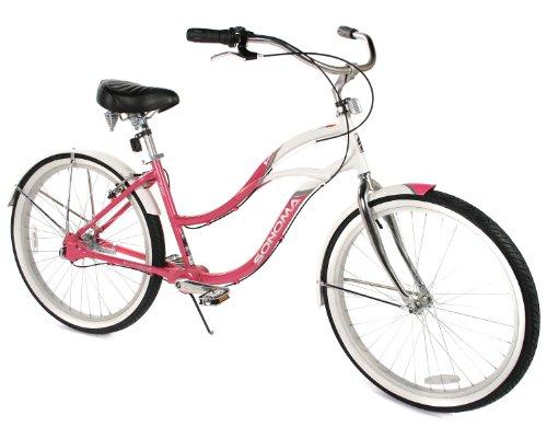 Women's Chainless Pink and White Beach Cruiser Bike