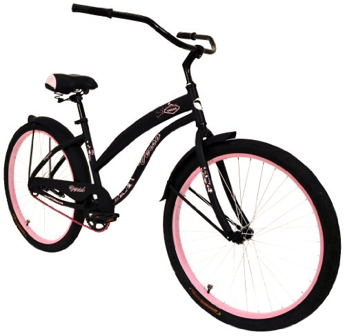 Stunning 1-Speed Retro Style Cruiser Bike, Pink and Black Color