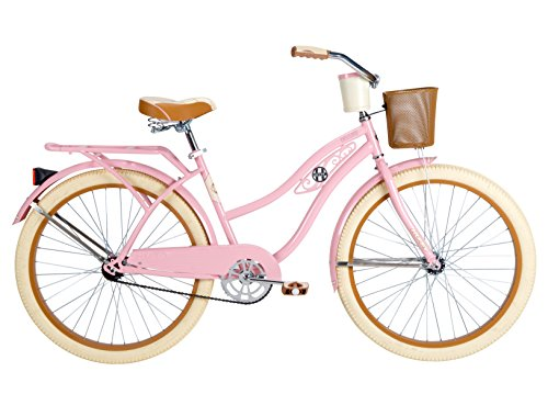 Cute Retro Style Light Pink Cruiser Bicycle with Front Basket