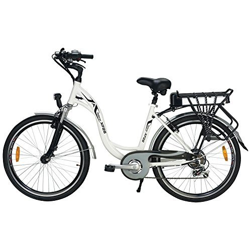 Step-Thru 7-Speed Lithium Powered Black and White Electric Bike