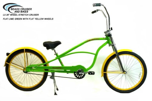 "Gorgeous Lime Green 26"" Single-speed Stretch Cruiser"