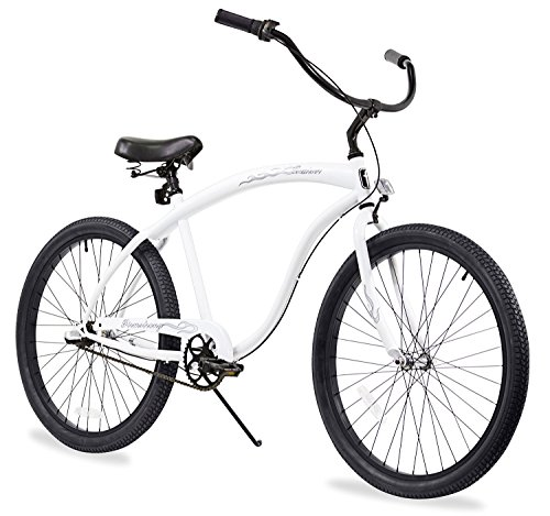 Comfy White Beach Cruiser Bike for Men