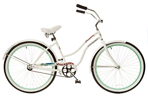 Single Speed White Beach Cruiser Bicycle with Mint Green Wheels