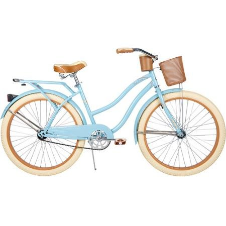 "26"" Women's Huffy Cruiser Bike with Basket, Baby Blue"